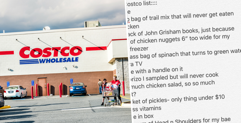 This Post Hilariously Nails Every Mom's Costco Shopping List